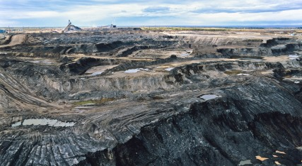 Aerial view of Syncrude strip mine in the Alberta Tar Sands